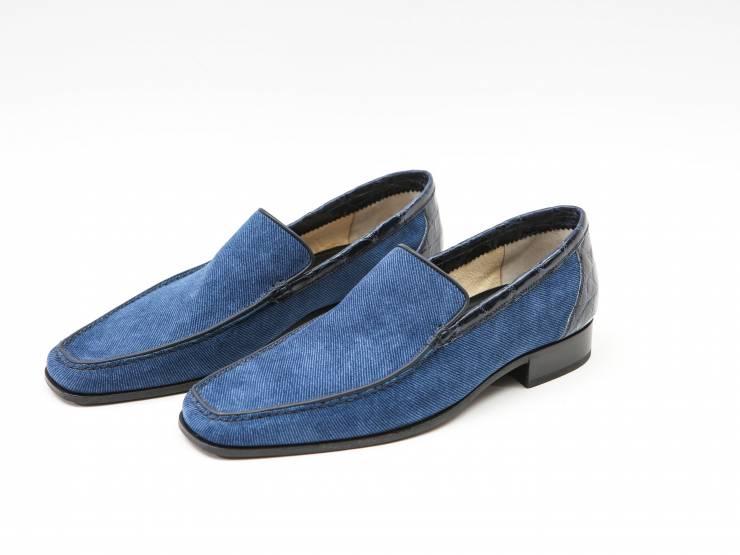 EGADI-BLUE PRINTED SUEDE & BLUE CROCODILE-CAMOSCIO STAMPATO BLU & COCCODRILLO BLU 01