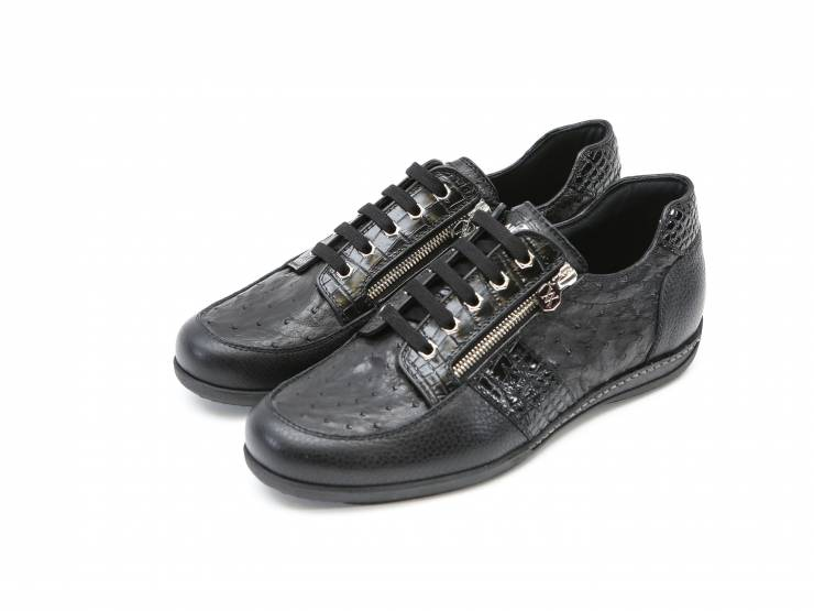 USAIN-BLACK CALF & OSTRICH-VITELLO & STRUZO NERO 01